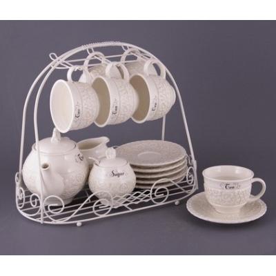 Чайный сервиз Кружево на подставке (64-234)