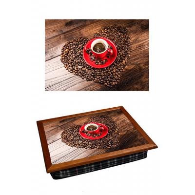 Поднос на подушке Сердце из кофе (2.85)