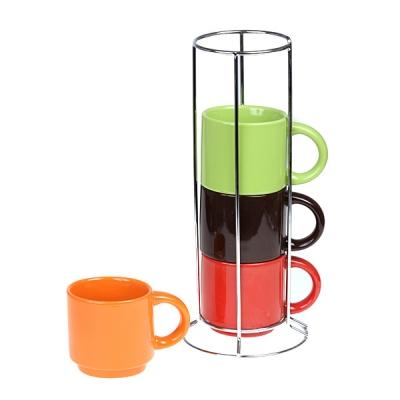 Набор чайный радуга на металлической подставке, 4 шт. (398-122)