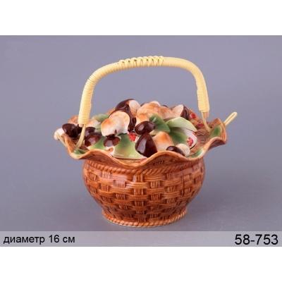 Сахарница с ручкой Грибная поляна (58-753)