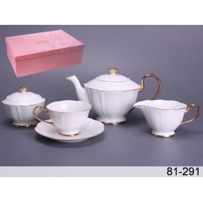 Чайный набор бело-золотой, 15 пр. (81-291)