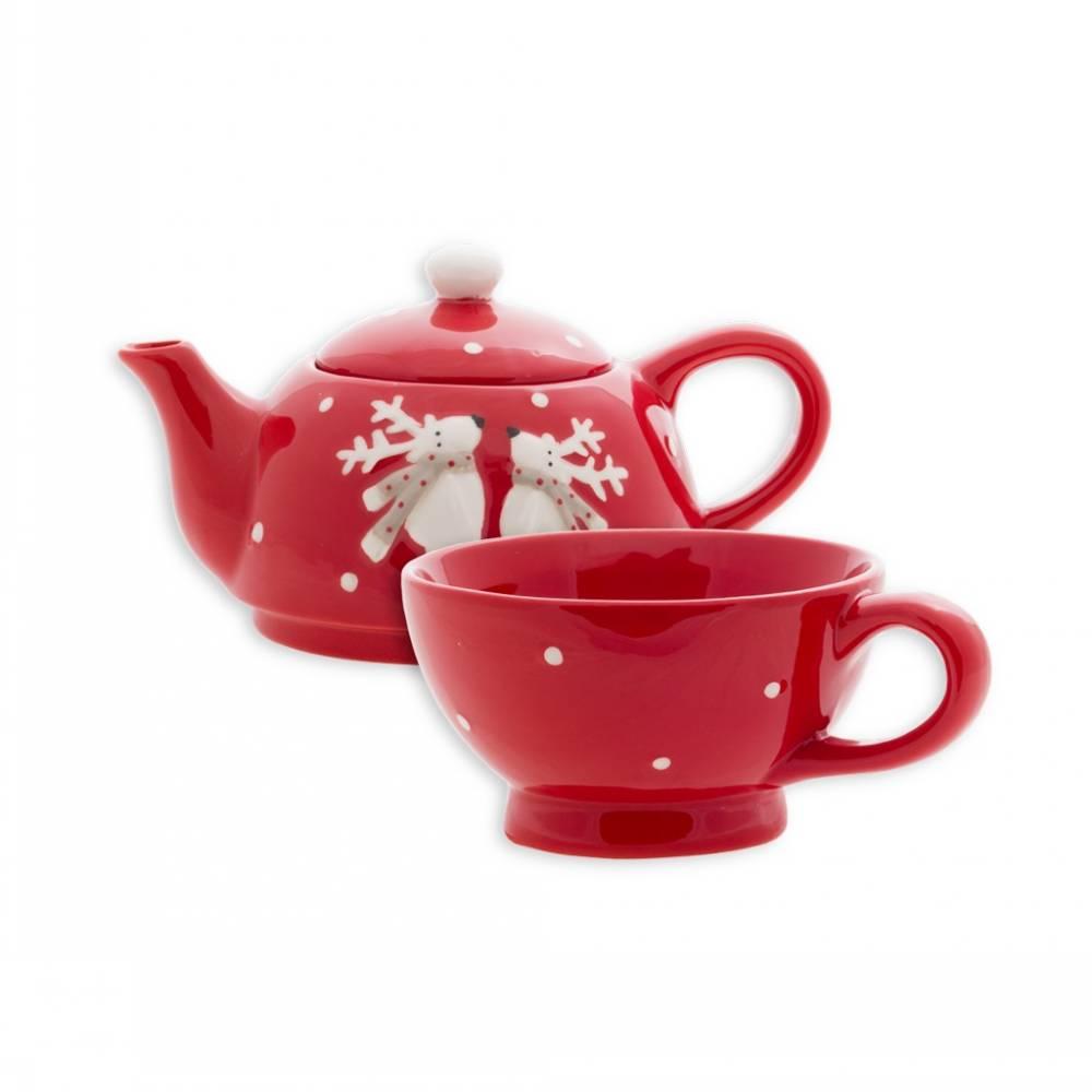 Набор для чаепития заварочный чайник с чашкой Олени