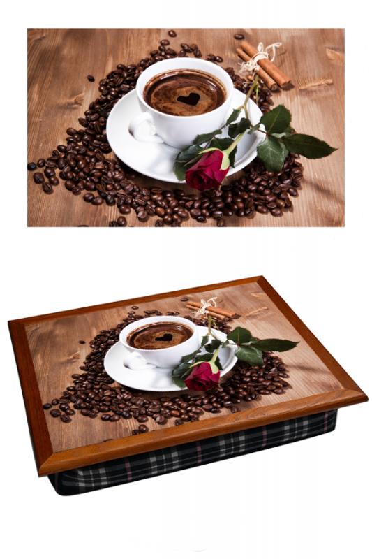 Поднос на подушке Кофе и роза