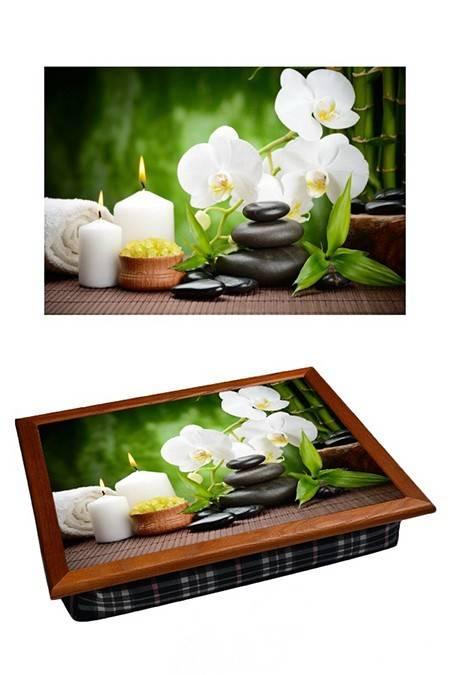 Поднос с подушкой Белая орхидея