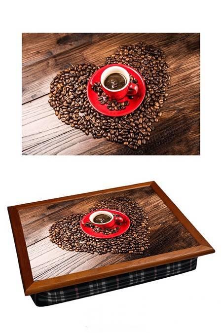 Поднос на подушке Сердце из кофе