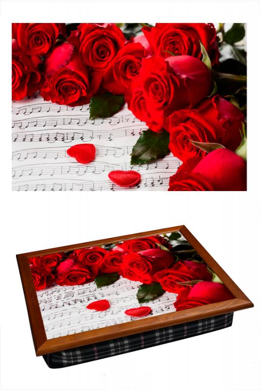 Поднос на подушке Алые розы