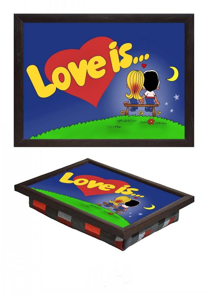 Маленький поднос на подушке Love is