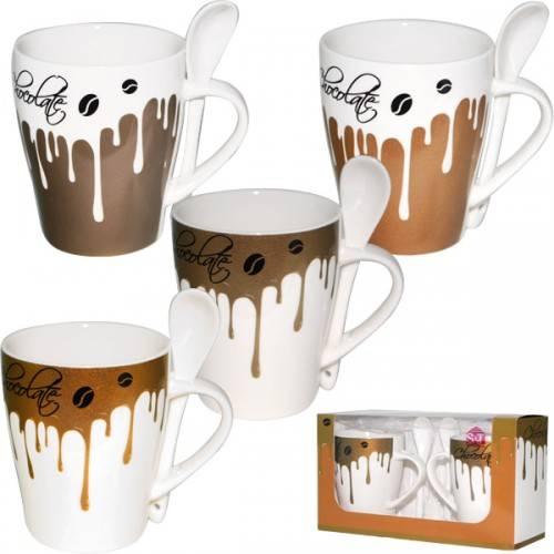 Набор чашек с ложками Горячий шоколад, 2 шт.