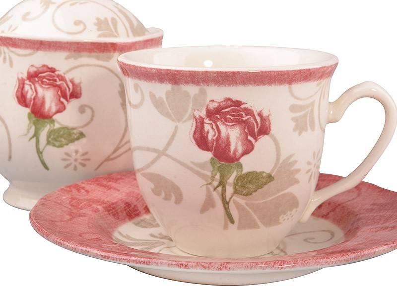 Чайный набор Damask Flower Pink, 14 пр.