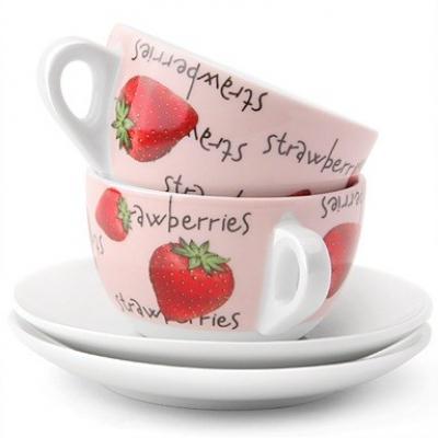 Чашка-латте с блюдцем Fragole, 2 шт. (29728)