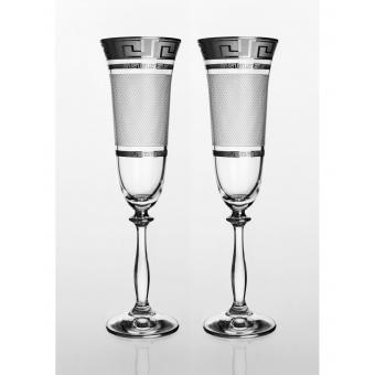 Angela набор бокалов для шампанского (Karo Kostka платина) 2 шт. (01-03-190-2-004)