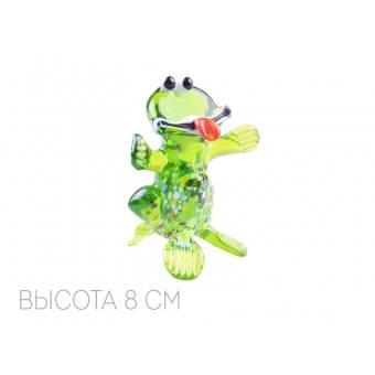 Декоративное изделие из стекла лягушка с языком (067-095)