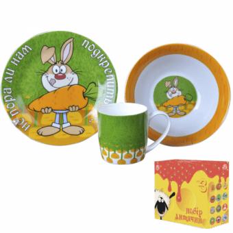 Детская посуда Зайчик с морковкой, 3 пр. (5132-08)