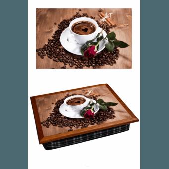 Поднос на подушке Кофе и роза (2.57)
