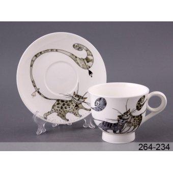 Чашка с блюдцем Веселые коты (264-234)