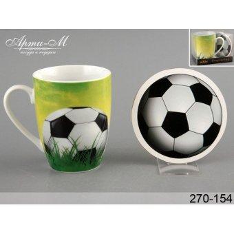 Чашка с подставкой Футбол, 300 мл (270-154)