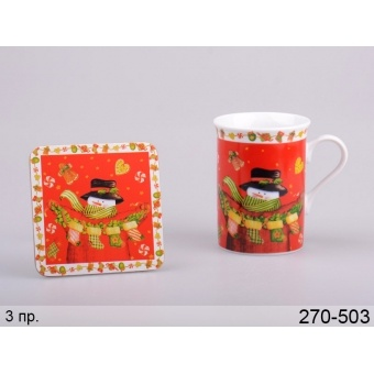 Чашка с подставкой новый год (270-503)