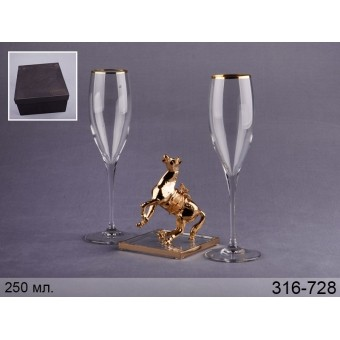Набор бокалов для шампанского фигуркой Лошадь (316-728)