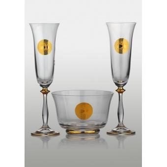Angela набор для шампанского (Edem золото) 2+1