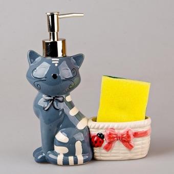 Дозатор для жидкого мыла Кошка с корзиной (490-140-1)