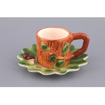 Чашка с блюдцем грибочки (490-221)