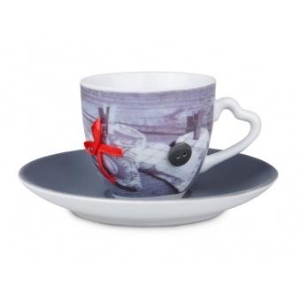 Чашка с блюдцем бант (494-014)