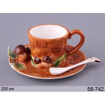 Чашка чайная с блюдцем Грибная поляна (58-742)