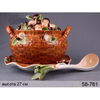 Супница на блюде Грибная поляна (58-761)