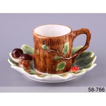 Чашка с блюдцем Грибная поляна (58-766)