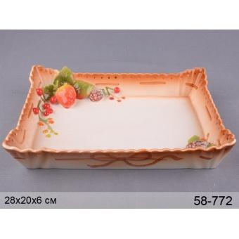 Блюдо прямоугольное Ягодки (58-772)
