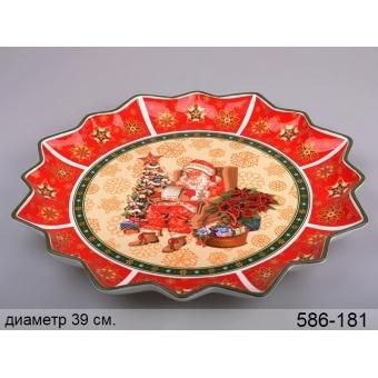 Блюдо круглое новогоднее Санта (586-181)
