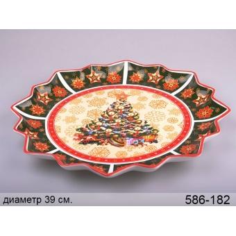 Блюдо круглое новогоднее Ёлка (586-182)