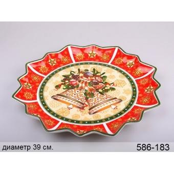 Блюдо круглое новогоднее Колокольчики (586-183)