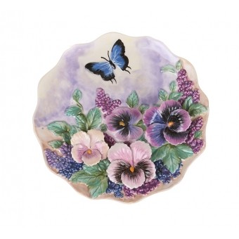 Тарелка декоративная цветник
