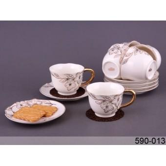 Чайный набор Золотые цветы, 12 пр. (590-013)