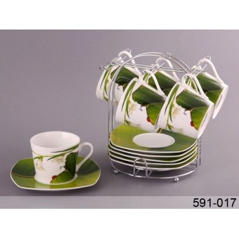 Чайный набор Ландыш на подставке, 12 пр. (591-017)