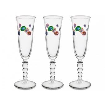 Набор бокалов для шампанского Мурано, 3 шт.