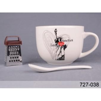 Чашка Любовь в Нью-Йорке с ложкой и мини-теркой (727-038)