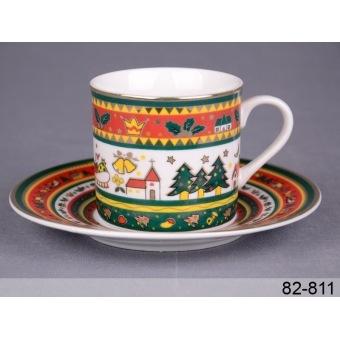 Кофейная чашка с блюдцем Рождественская сказка (82-811)