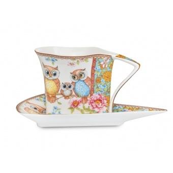 Чашка с блюдцем Совы (924-038)