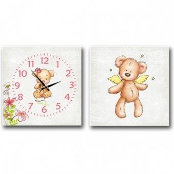 Часы на холсте Ангельский мишка (06-110)