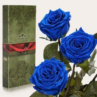 Три долгосвежих розы Синий сапфир 7 карат