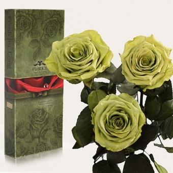 Три долгосвежих розы Лаймовый нефрит 7 карат (1327-GR01)