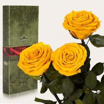 Долгосвежие розы Солнечный цитрин 7 карат, 3 шт. (1327-JL02)
