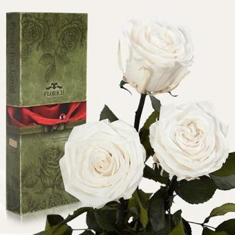 Три долгосвежих розы Белый бриллиант 7 карат (1327-WT01)
