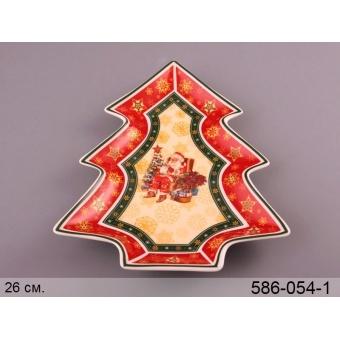 Блюдо-елка новогоднее Санта (586-054)