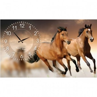 Часы на холсте Лошади (06-203)
