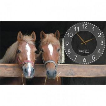 Часы на холсте Лошади (06-204)
