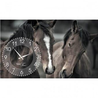 Часы на холсте Лошади (06-208)
