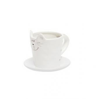 Чашка с блюдцем Белый кот (107384)